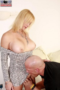 busty blonde shemale gets cock sucked