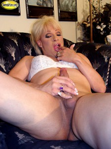 blonde shemale jerking off